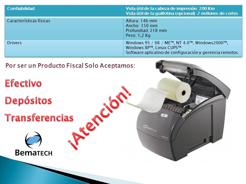 Impresora Fiscal Bematech Mp 4000 Termica 250 Mm S Th Fi