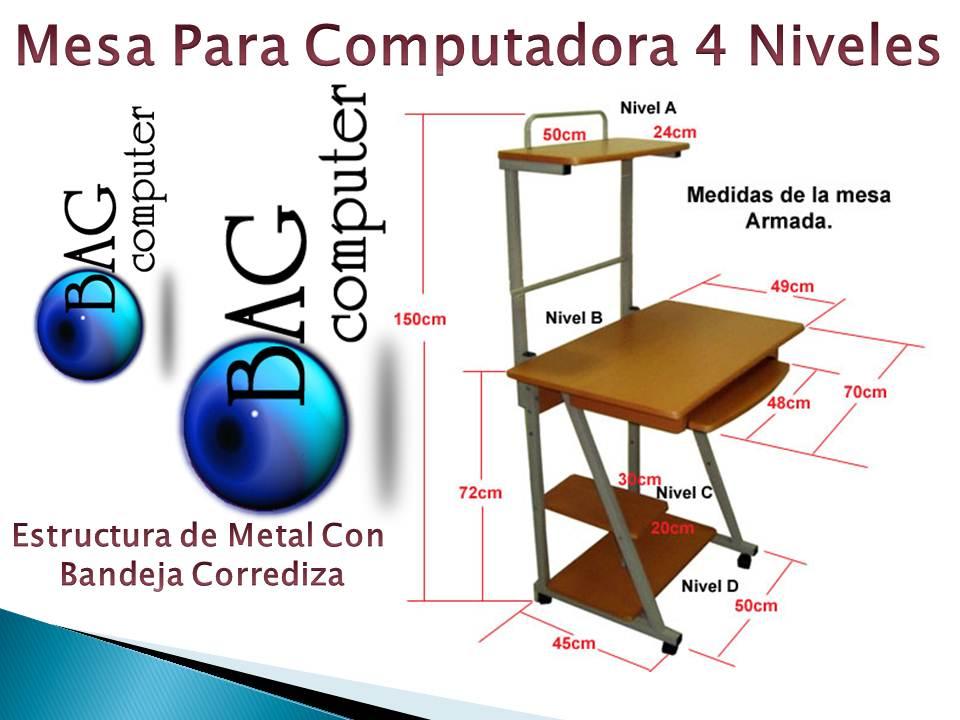Mesa para computadora 4 niveles con ruedas bandeja for Mesa para computadora